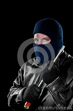 Robber with screwdriver
