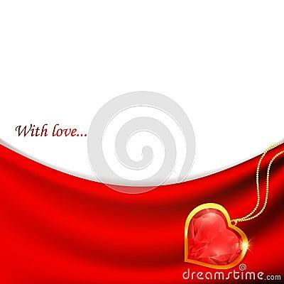 Robijnrood hart bij gordijn