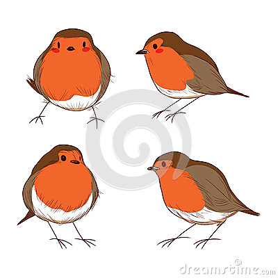 Stock Illustration Robin Bird Color Set Different Hand Drawn Cute Bird...
