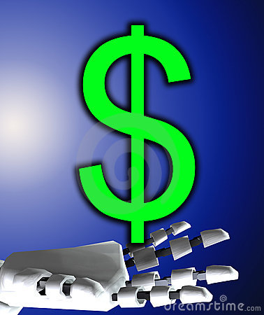 Free Robo Hand And Dollar Royalty Free Stock Photography - 4377807