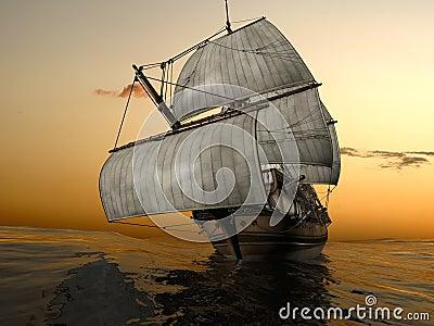 Old fashioned sailing ship at sea