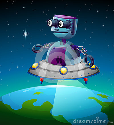 A robot above the earth