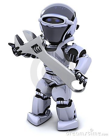 Robot and adjustable wrench