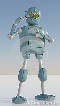 Free Robot And Butterfly On Hand A Blue Background. Retro Toy And Nat Stock Photos - 118842273