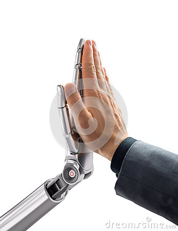 Free Robot And Human Giving A High Five. Artificial Intelligence Technology 3d Illustration Stock Photos - 96813723