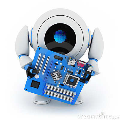 Free Robot And Motherboard Royalty Free Stock Photo - 21618885