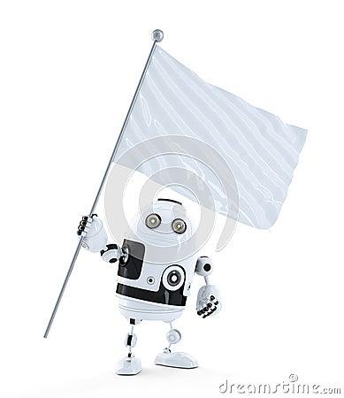 Robot androïde avec le drapeau de ondulation vide blanc