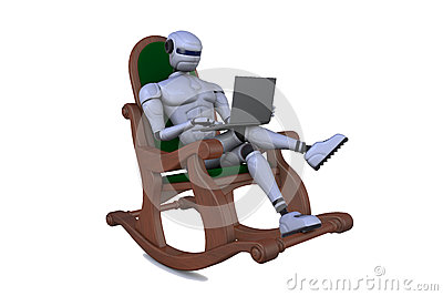 Robot in an arm-chair with a notebook