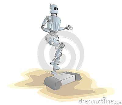 Robot on a beach make step-aerobic activity