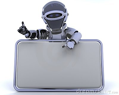 Robot and blank sign