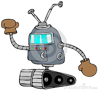 Robot with boxing gloves