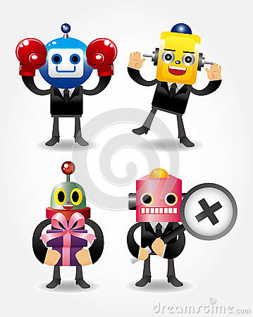 Robot businessman icons