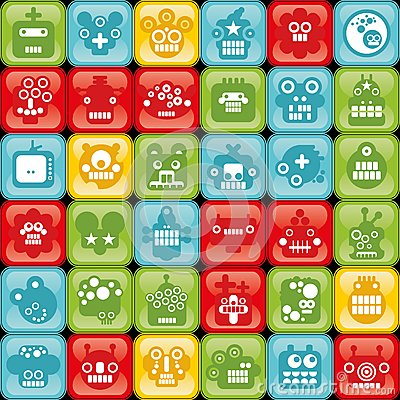 Robot on buttons seamless background.