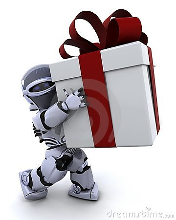 Free Robot Carrying Christmas Gift Box With Bow Royalty Free Stock Photo - 15380965