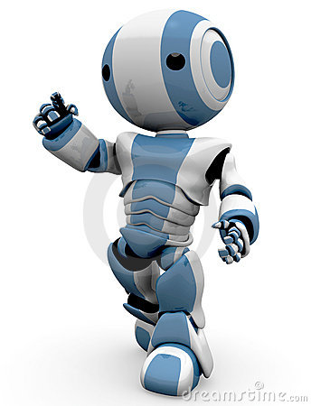 view of a futuristic blue and white robot figure pointing as it ...