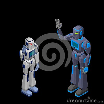 Free Robot Character Greeting. Isolated On Black Background. 3d Vecto Stock Image - 130158111