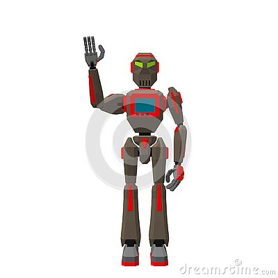 Free Robot Character Greeting. Isolated On White Background. 3d Vecto Stock Photography - 130158102