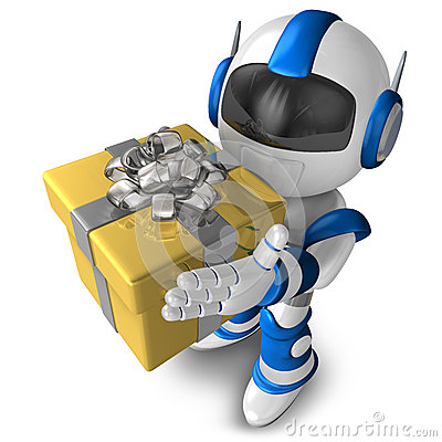Robot character holding a gift, 3D Robot character