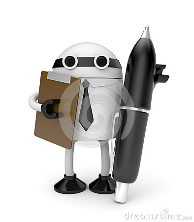 Robot with clipboard and pen