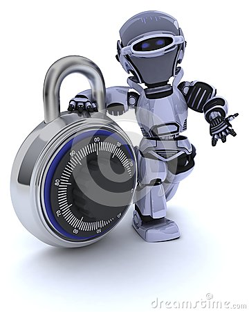 Robot with combination padlock
