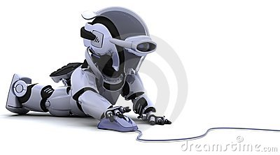 Robot with a computer mouse