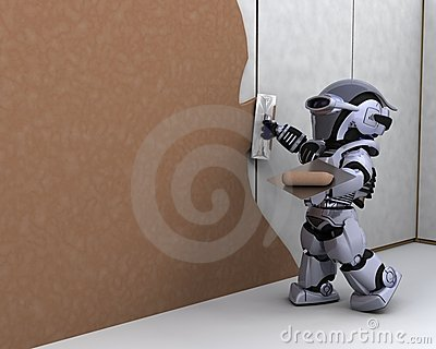 Robot Contractor Building A Drywall Stock Photo - Image: 16300020