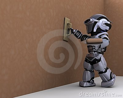 Robot contractor plastering a drywall