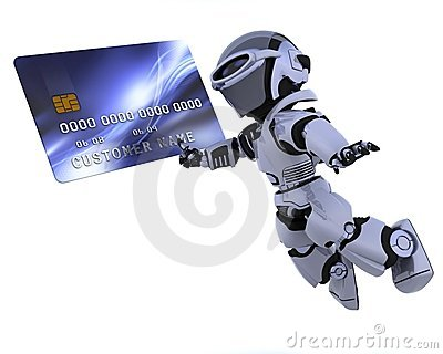 Robot And Credit Card Royalty Free Stock Image - Image: 14190086
