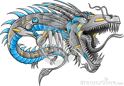 Robot Cyborg Dragon Vector