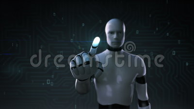 Robot, cyborg touching screen, artificial intelligence, computer technology, humanoid science.1. stock video