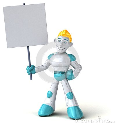 Robot - 3D Illustration Stock Photo
