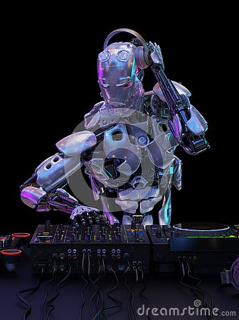 Free Robot Disc Jockey At The Dj Mixer And Turntable Plays Nightclub During Party. Entertainment, Party Concept. 3D Illustration Royalty Free Stock Image - 130909786