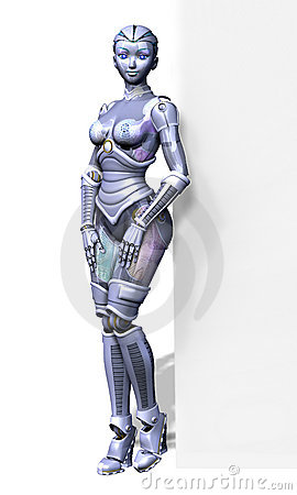 Robot with Edge of Blank Sign - with clipping path