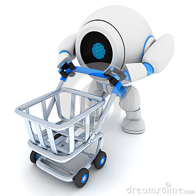 Robot and empty cart