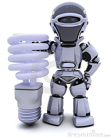 Robot with energy saving lightbulb