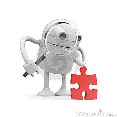 Robot Examine Puzzle Royalty Free Stock Image - Image: 18291516