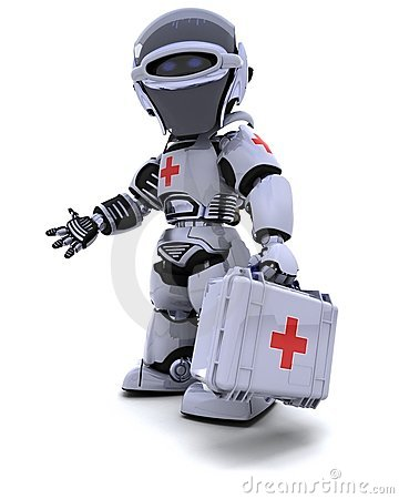 Robot with first aid kit Editorial Image