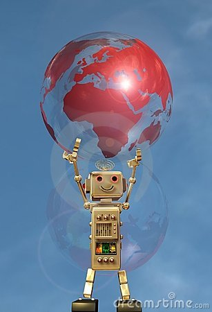 Robot and globe earth