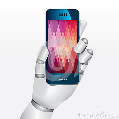 Robot hand hold smartphone design vector illustration.
