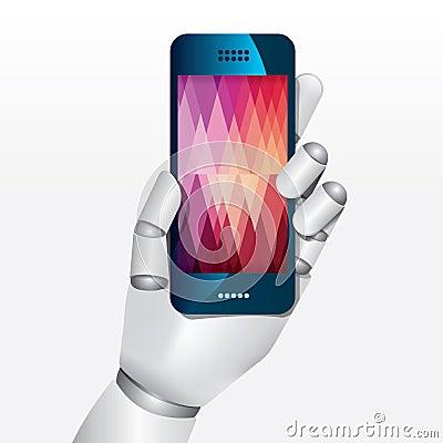 Robot hand hold smartphone design vector illustration.