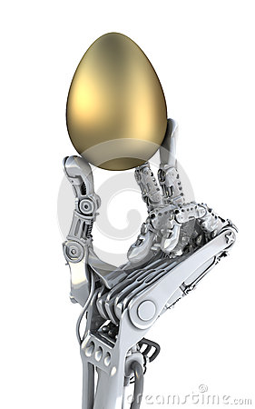 Free Robot Hand  Holding A Golden Easter Egg. Conceptual 3d Illustration Stock Photo - 49597260