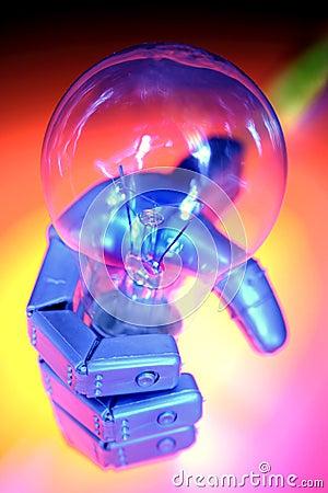 Robot hand holding bulb