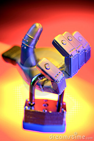 Robot hand holding padlock