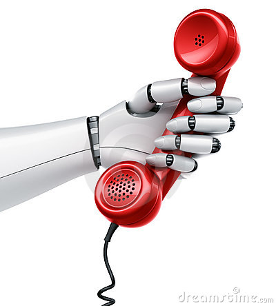 Robot hand holding telephone