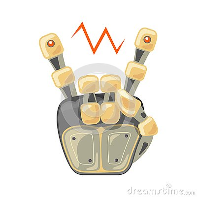 Free Robot Hand. Mechanical Technology Machine Engineering Symbol. Cool, Good Icon. Rock Music. Peace. Energy Between Fingers Royalty Free Stock Photo - 138274045