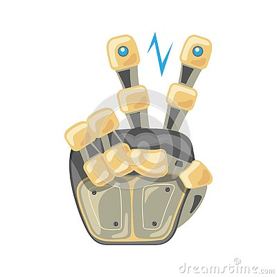 Free Robot Hand. Mechanical Technology Machine Engineering Symbol. Two Number. Pointer. Second. Peace. Energy Between Fingers Stock Photography - 138273922