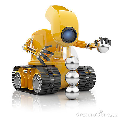 Robot hold sphere.  Artificial intelligence