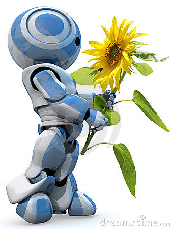 Free Robot Holding Yellow Flower Stock Images - 6344244