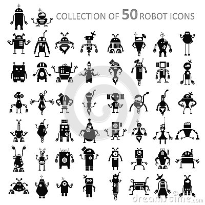 Free Robot Icons Stock Photo - 37519390