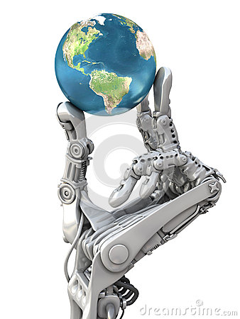 Robot keeps the Earth. Planet in hands at high technology. Conceptual fantasy 3d illustration